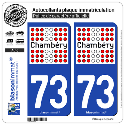 2 Stickers Autocollant Plaque Immatriculation Auto : 73 Chambéry - Ville