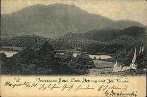 Loch-Achray-Schottland-Scotland-AK-1901-Trossachs-Hotel-Stempel-von-Glasgow