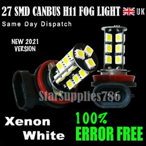 2x H11 27 Smd Canbus Fendinebbia Luce Lampadine a LED Senza Errori Xenon Bianco H11 LED Foglight