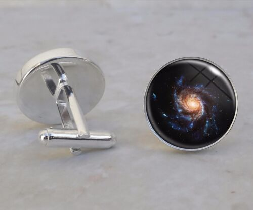 Choose Planet Nebula Moon Astronomy Astrophysics 925 Sterling Silver Cuff Links