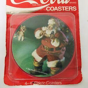 Vintage-Coca-Cola-Plastic-Christmas-Coasters-Set-Of-4-Coke-Soda-Made-In-USA