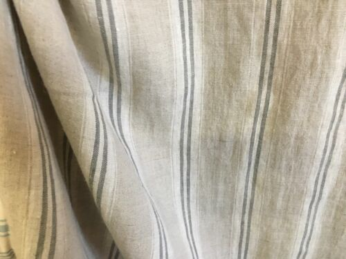 French Vintage Linen Stripe Charcoal Grey Curtain//Craft upholstery Fabric