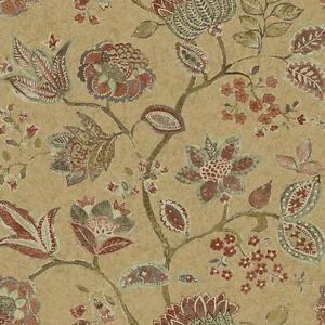 Wallpaper-Large-Brown-Coral-Cream-Taupe-Jacobean-Floral-Vine-on-Pearlized-Beige