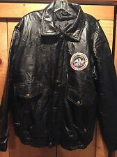 Vintage Mens Patchwork Leather Motorcycle Jacket Korean Veteran Patch Sz Large L
