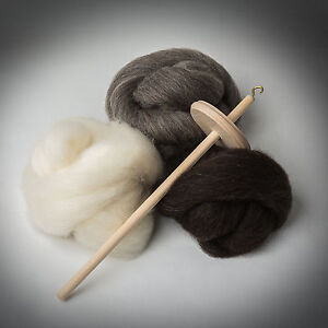 DROP-SPINDLE-KIT-Shetland-Fleece-LEARN-TO-SPIN-wool-tops-wheel-roving-spinning