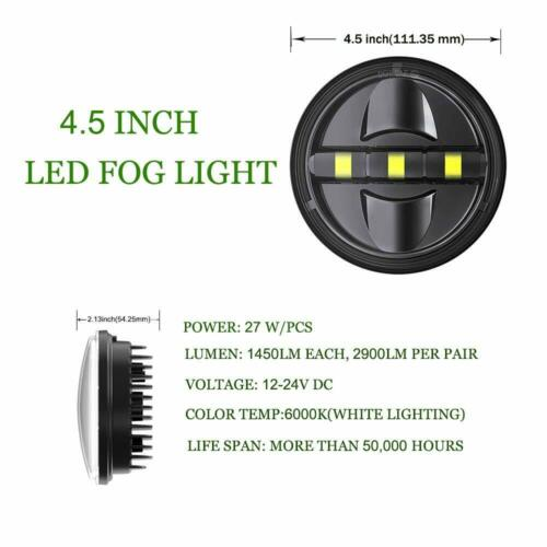 """Pair 4.5Inch LED Auxiliary Passing Lights Fog Spot Lamp for Motorcycle 4-1//2/"""""""