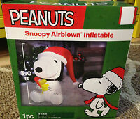3ft Peanuts Yard Decor Airblown Inflatable Snoopy & Woodstock Christmas