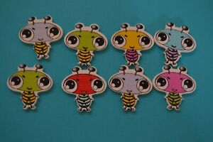 8-Ant-Bug-Buttons-Wood-Craft-Scrapbooking-embellishment-DIY-Sew-Quilting-Cute