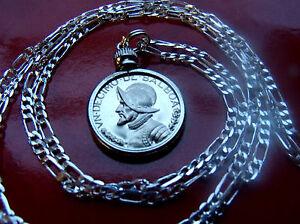 RARE-CONQUISTADOR-PANAMA-PROOF-COIN-PENDANT-on-a-30-034-925-STERLING-SILVER-CHAIN