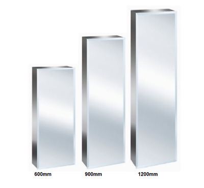 New Luxury Stainless Steel Bevelled Edge Reversible Tall Bathroom Mirror Cabinet Ebay