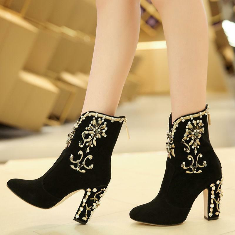 New Womens Embroidery Floral rhinestone Suede Block High Heels Shoes Ankle Boots