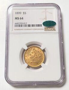 Gold Half Eagles Liberty Head 1899 P NGC MS-64  CAC