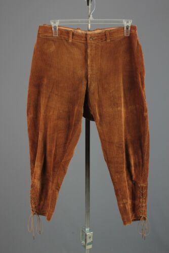 Men's 30s 40s Corduroy Equestrian Button Fly Jodhp