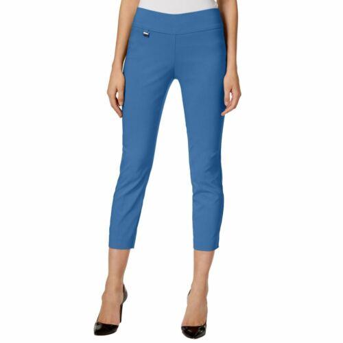 ALFANI Women/'s Glazed Cobalt Tummy-control Pull-on Capris Cropped Pants 14 TEDO