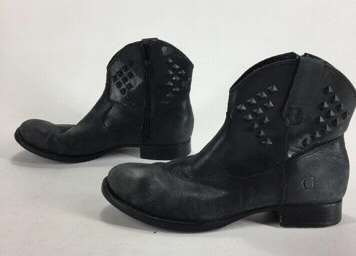 Mujer botas al Tobillo Tobillo Tobillo nacido tachonado de Cuero Negro Cremallera Lateral Talla 9.5  venta directa de fábrica