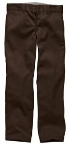 Dickies-Mens-Straight-Work-Slim-Trousers-Chocolate-Brown-30W-x-30L