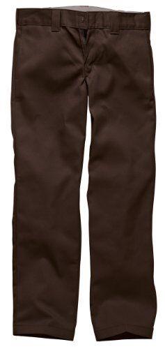 Chocolate Brown 30W x 30L Dickies Mens Straight Work Slim Trousers