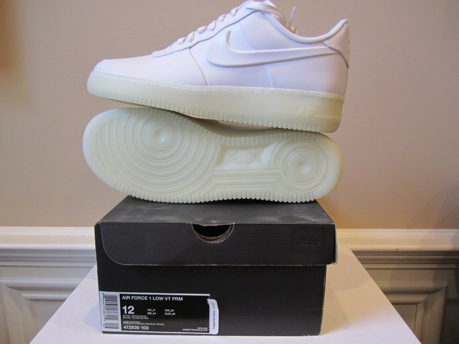 2018 Nike Air Force 1 baja Blanco VT prima VAC Tech Blanco baja Foamposite 472830-sz12 3a0161