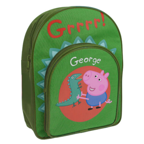 Peppa Pig George /& Dinosaur Front Pocket Backpack School Bag Rucksack