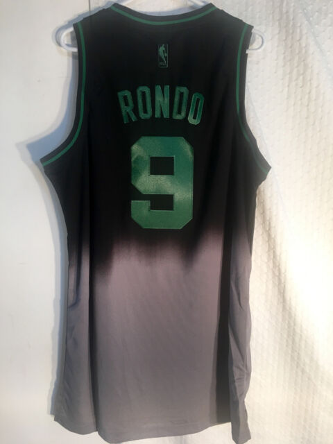 b79ff9f8630 Adidas Swingman NBA Jersey BOSTON Celtics Rajon Rondo Black Fadeaway sz XL