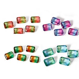 5-10-PCS-6-CT-10-14-MM-Watermelon-Tourmaline-Emerald-Cut-Loose-Gems-Wholesale