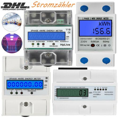 LCD 1,3-Phasen Drehstromzähler Wechsel Stromzähler Für Hutschiene LCD 230//400V