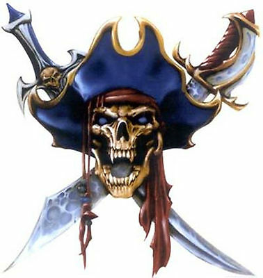 Pirate Skull Lethal Threat Waterslide Ceramic Decals Hx