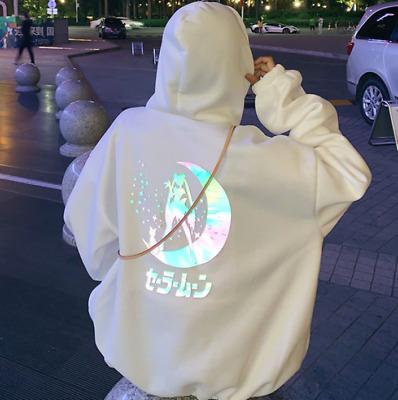 Anime Sailor Moon Women Girl Hoodie Sweater Coat Reflective Cosplay Costume Soft