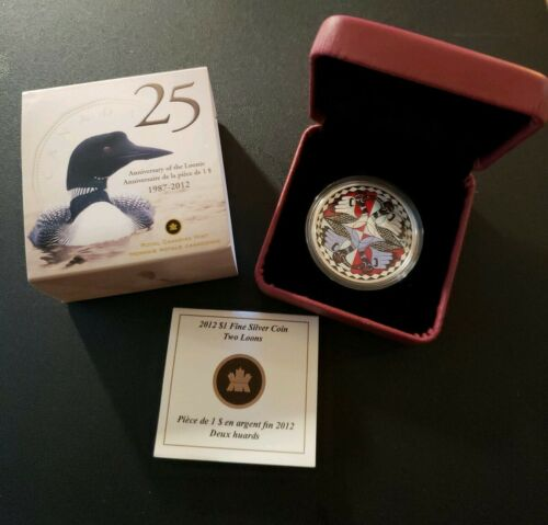 2012 Canada $1 Fine Silver Two Loons Coin with Box /& COA
