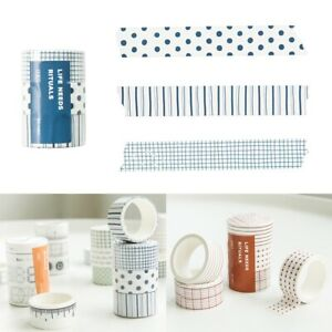 Cute 3 Rolls Paper Tape Masking Stickers Adhesive Sticky Scrapbooking DIY