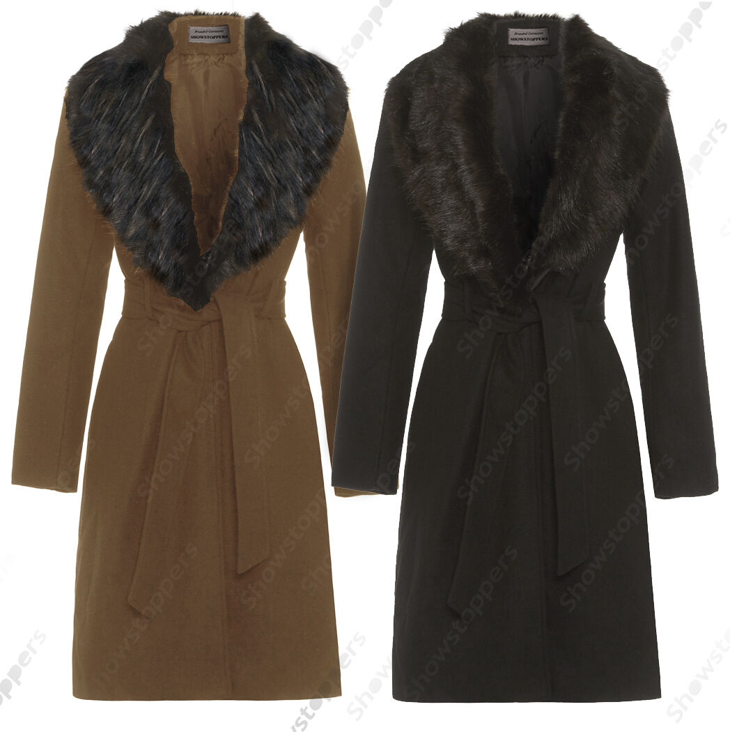 New damen Wool Blend Winter Coat Detachable Fur Collar Long Jacket Größe 8 to 16