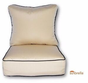 Outdoor Sunbrella Beige Seating Chair Cushion W Black Cording