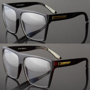 f1f4037e800a0 Image is loading Large-Oversized-Vintage-Glasses-Clear-Lens-Thick-Frame-