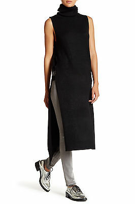 NWT L Love Token Sexy Long Lines Ribbed Tunic Cut Out Turtleneck Black Sweater