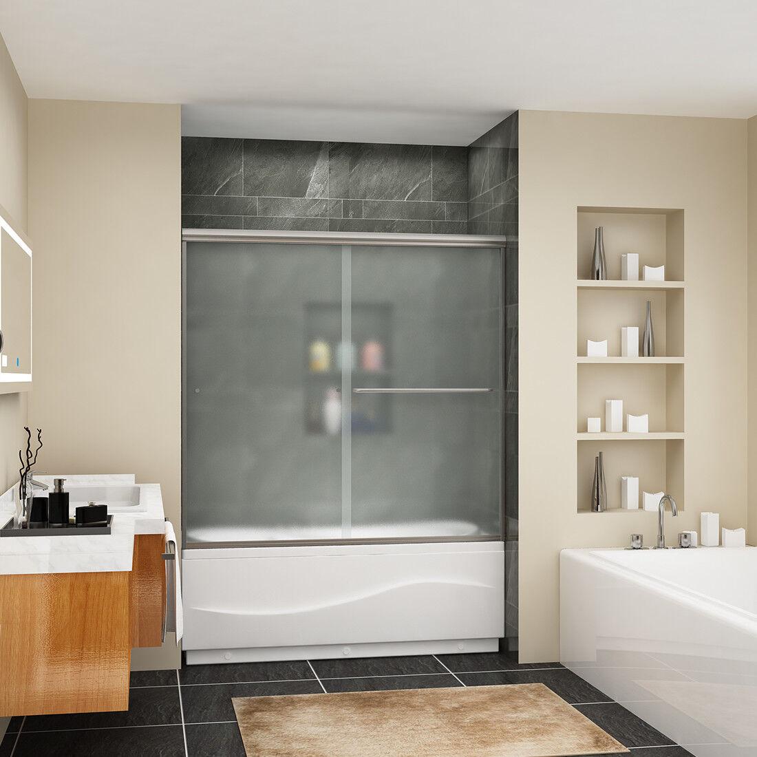 Sunny Shower Sliding Shower Bypass Tub Door 60 Semi Frameless Frosted Glass