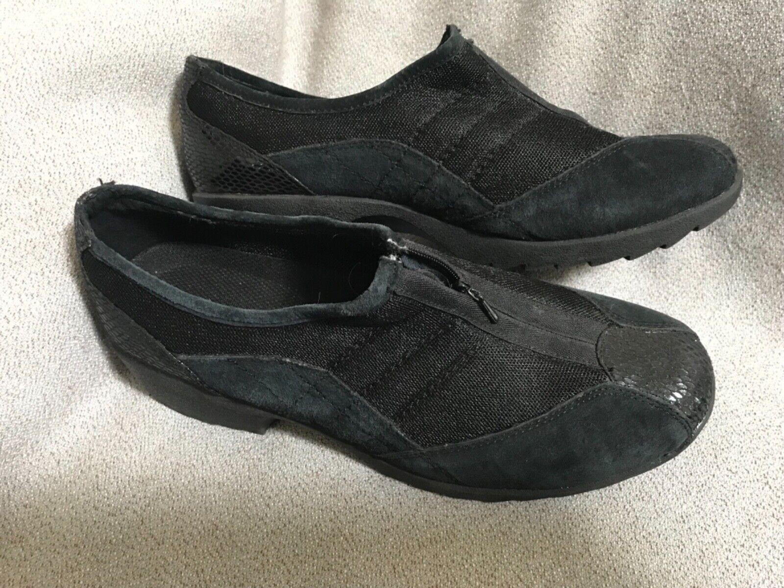 Sporto Paula Style Women's Black Leather Trim Slip Ons 9.5M