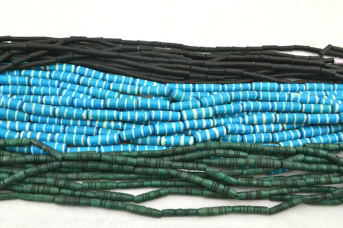 30 STRANDS ASSORTED MULTI-COLOR CARVED ROUND PIPE TUBE BONE BEADS #18