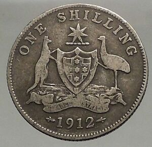 1912-AUSTRALIA-1-Shilling-Antique-SILVER-Coin-King-George-V-Coat-of-Arms-i57081