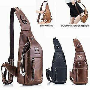 Vintage-Mens-Genuine-Leather-Sling-Chest-Bag-Crossbody-Messenger-Shoulder-Bag-US