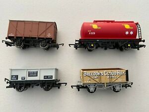 Hornby-OO-Gauge-4-x-mixed-freight-wagons-New-unboxed