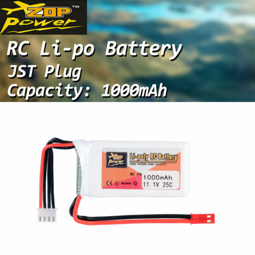 ZOP Power 11.1V 1000mAh 25C 3S Lipo Battery JST Plug For RC Racing Drone