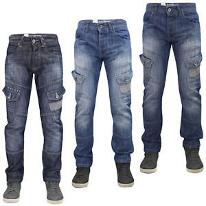 Mens-Crosshatch-Jeans-Sandblast-Regular-Fit-Cargo-Pockets-Denim-Pants-Trousers