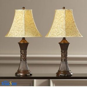 Table lamp set 2 vintage traditional lamps pair shade nightstand image is loading table lamp set 2 vintage traditional lamps pair aloadofball Image collections