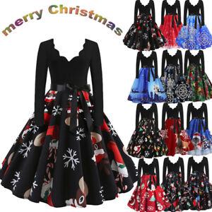 Vintage-Women-039-s-Christmas-Swing-Dress-Ladies-Long-Sleeve-Party-Skater-Midi-Dress