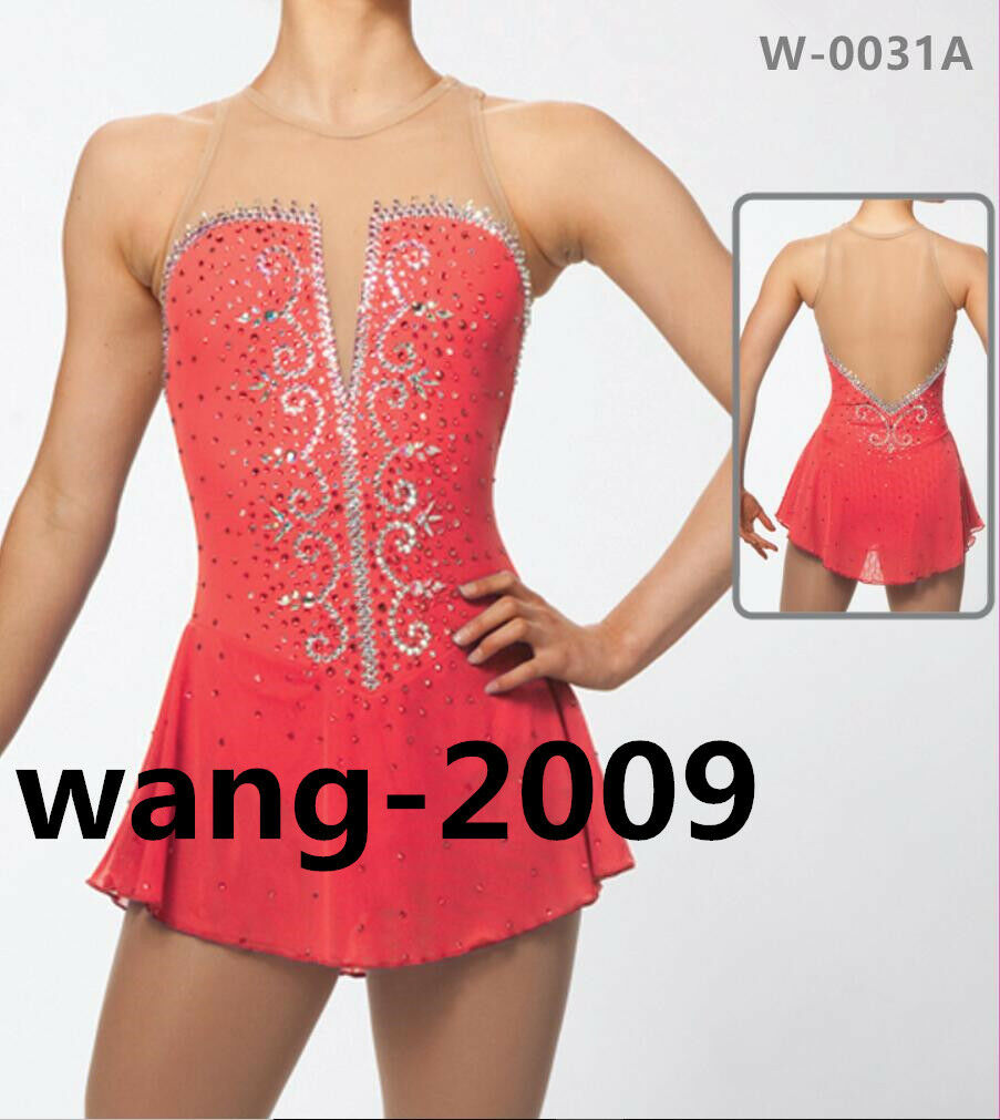 Figure Skating Competition  Dress Ice Skating Training Dress Girl Costume coral  famous brand