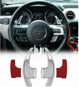Red Steering Wheel Shift Paddle Extended Shifter Trim Cover for Ford Mustang 2015~2020 Aluminum Alloy