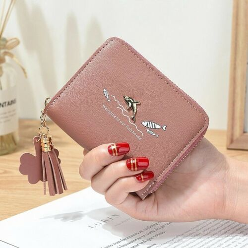 Women Kids Small Coin Card  Wallet Pouch Purse Zip-around Dolphin Tassel Star