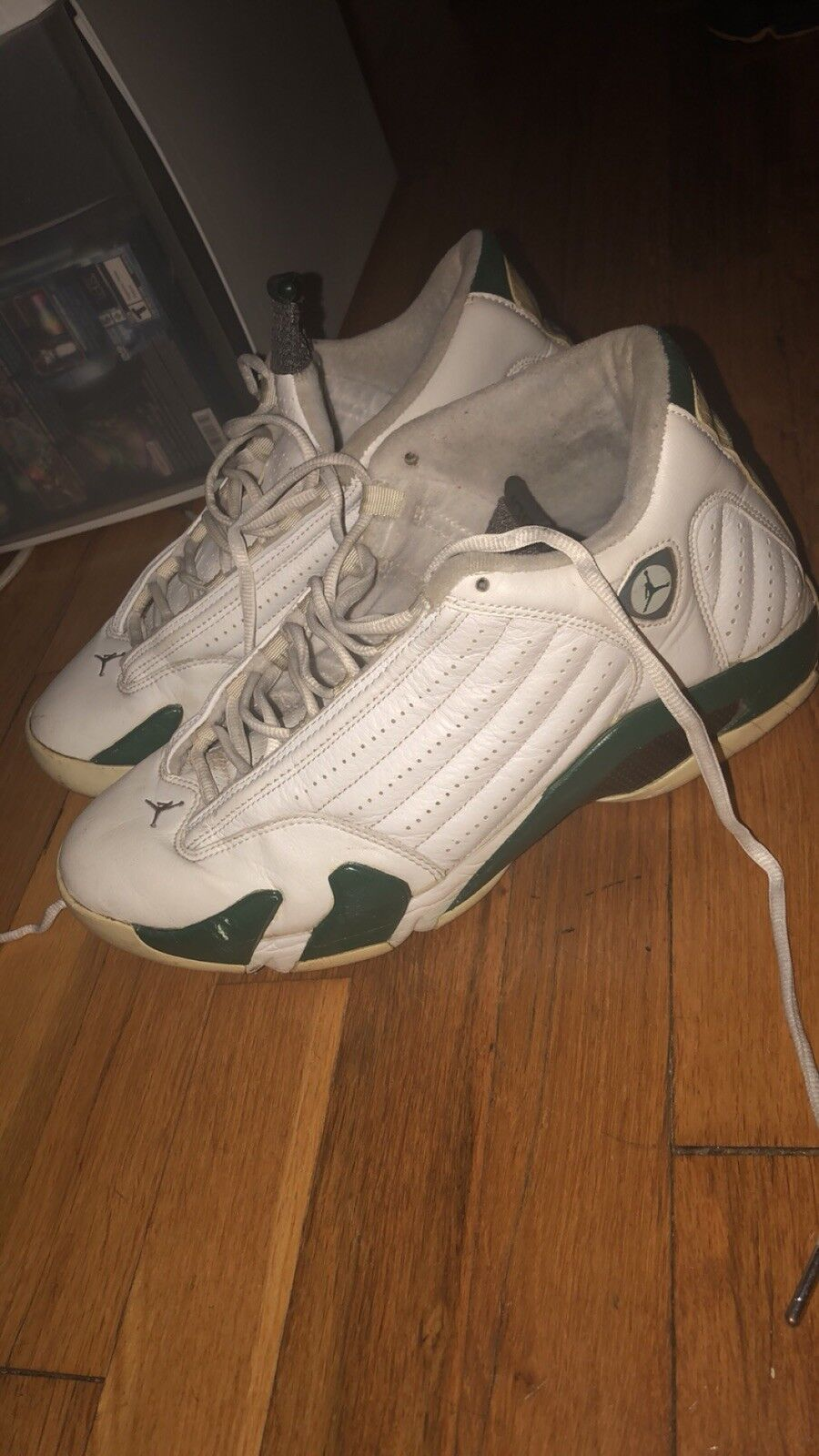 2005 Air Jordan 14 White And Forest Green Uomo Size 10.5