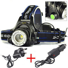 ZOOM 5000LM CREE XM-L XML T6 LED 18650 Headlamp Headlight Lamp Light*Chargers