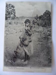 VINTAGE-OLD-EARLY-ANTIQUE-PHOTO-POSTCARD-ABORIGINAL-WOMAN-BABY-in-DILLY-BAG